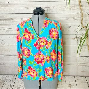 LILLY PULITZER Button Elsa Flower Print Rayon